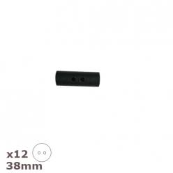 12 boutons buchettes noirs 38mm dill