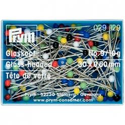 epingles tete de verre colore n9  30mm