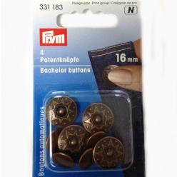 boutons automatiques avec goupille pointue octa cuivre antique