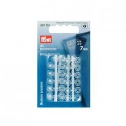 boutons pression a coudre plastique transparent 7mm x24