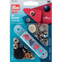 boutons pression anorak bleu 15mm x10