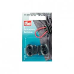 arrets de cordon plastique 2 trous noir x2