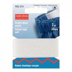 ruban elastique souple 25mm blanc prym