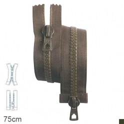 fermeture z78 9 mm separable double curseur kaki  75cm