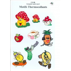 planche de motifs thermocollants  fruit et legumes fun