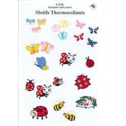 planche de motifs thermocollants  coccinelles et papillons