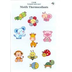 planche de motifs thermocollants  petits animaux