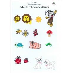 planche de motifs thermocollants  animaux et insectes
