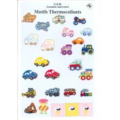 planche de motifs thermocollants  vehicules