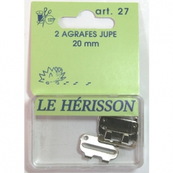 agrafe jupe 20mm  2pcs nickele blanc
