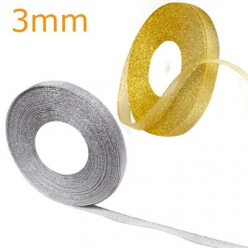 ruban lame 3 mm lurex en rouleau de 25 m