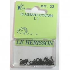 agrafes couture courante t1  10pcs noir