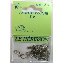 Agrafes couture courante T2 - 10pcs nickelé blanc