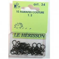 agrafes couture courante t2  10pcs noir