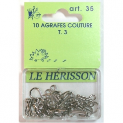 agrafes couture courante t3  10pcs nickele blanc