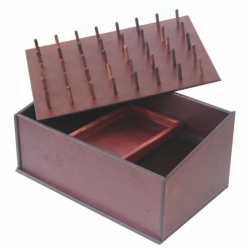 boite de rangement en bois pour bobine  coloris acajou
