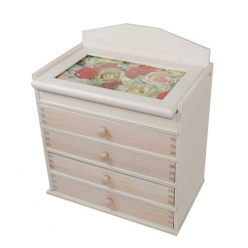boite en bois lasure blanc 4 tiroirs
