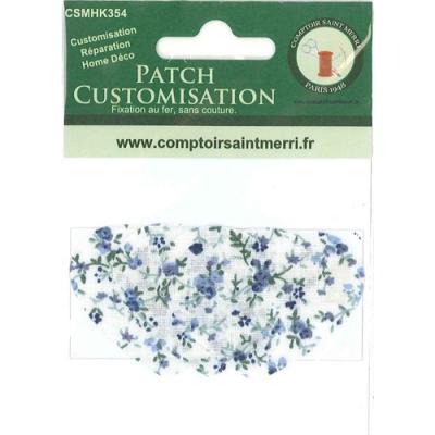 3 coeurs pour customisation petites fleurs bleus