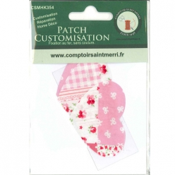 3 coeurs pour customisation patchwork rose