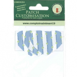 3 coeurs pour customisation rayures bleu