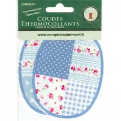 coudes thermocollants patchwork bleu