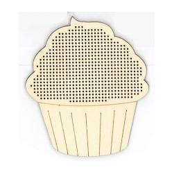 silhouette en bois a broder cupcake  9x8cm