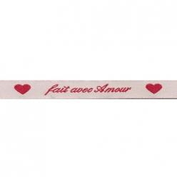 ruban tisse 12mm a message fait avec amour