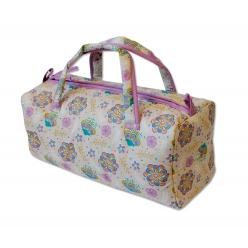 sac a ouvrage avec oeillets motif fleuri