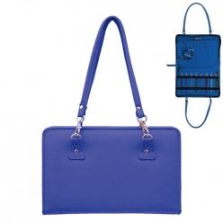 sac en similicuir bleu pour aiguille a tricoter  thames bag