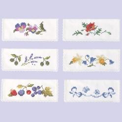 6 pochettes serviettes a broder assortis  fleurs et papillons
