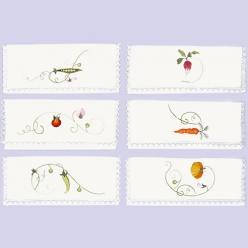 6 pochettes serviettes a broder assortis  fleurs et legumes