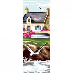 canevas antique maison bretonne  30x65cm