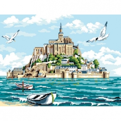 canevas antique le mont saint michel  50x65cm