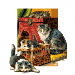canevas antique le clan des chats  50x65cm