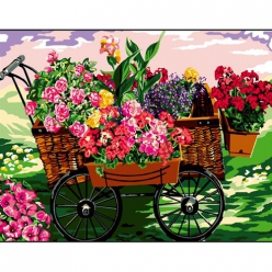 canevas antique fleurs dans la brouette  50x65cm