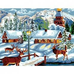 canevas antique village d hiver  50x65cm