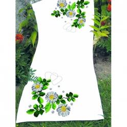 kit chemin de table a broder point de croix  fleurs blanches