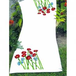 kit chemin de table a broder point de croix  fleurs rouges et bleues