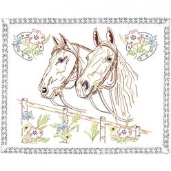 kit napperon a broder  les chevaux