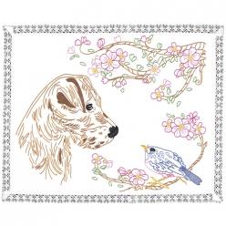 kit napperon a broder  chien et oiseau