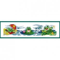 kit a broder point de croix frise  grenouilles