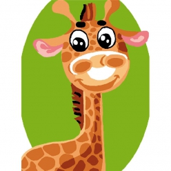 kit canevas enfant girafe sourire 20x25cm