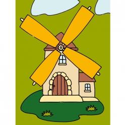 kit canevas enfant moulin 20x25cm