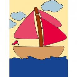 kit canevas enfant voilier 20x25cm