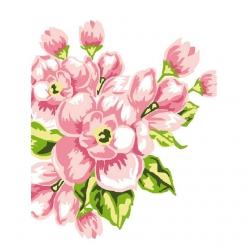 kit canevas blanc fleurs roses 25x30cm