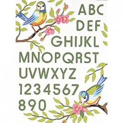 kit canevas blanc oiseaux abc 25x30cm