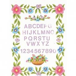 kit canevas blanc fleurs abc 25x30cm