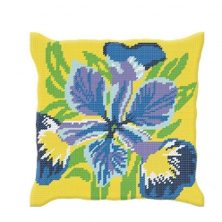 Kit coussin demi-point iris (40x40 cm fini)