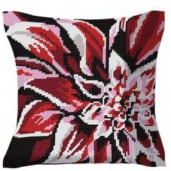 kit coussin demi point  fleur rouge