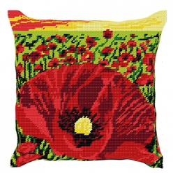 kit coussin demi point coquelicot